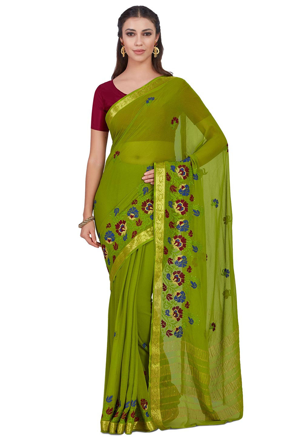 Embroidered Chiffon Saree in Olive Green