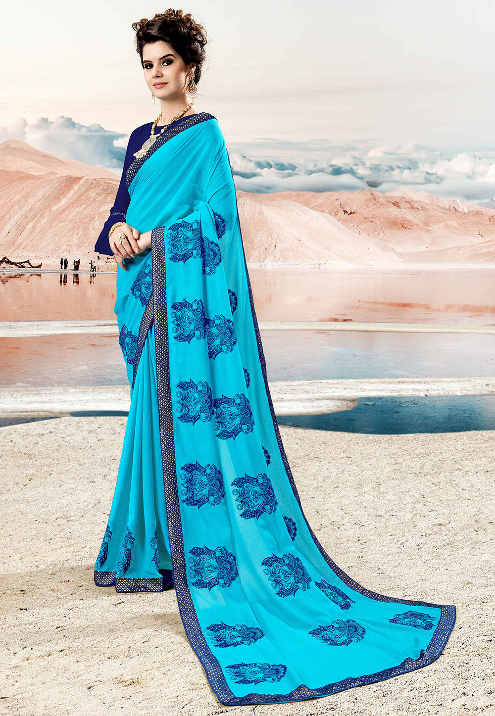9a3b43b0c2bd7 Embroidered Chiffon Saree in Sky Blue   SZRA508