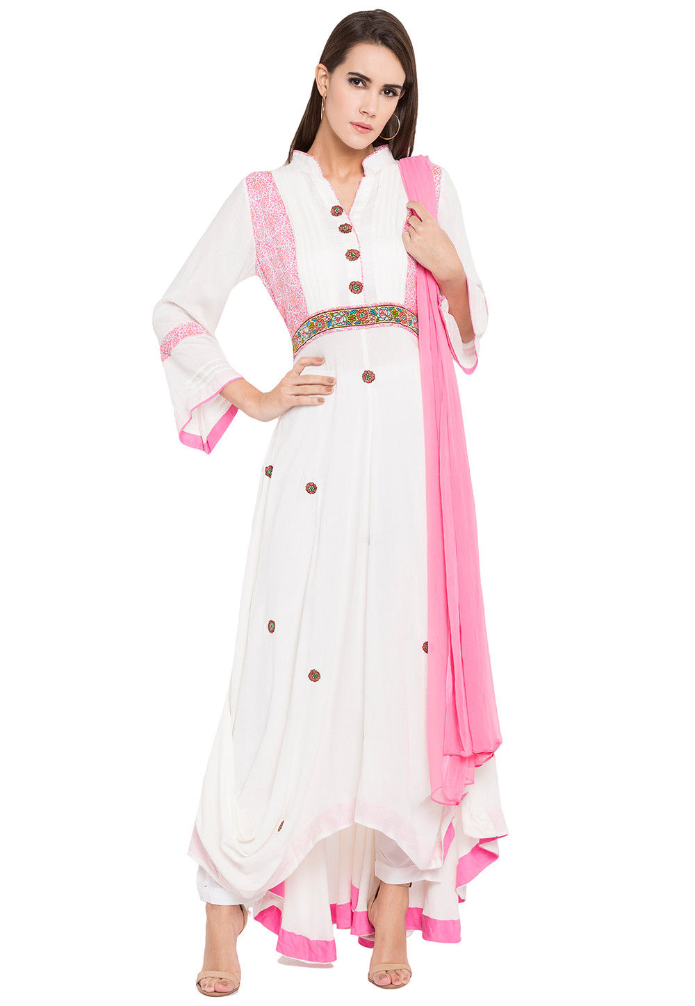 Embroidered Cotton Asymmetic Suit in Off White