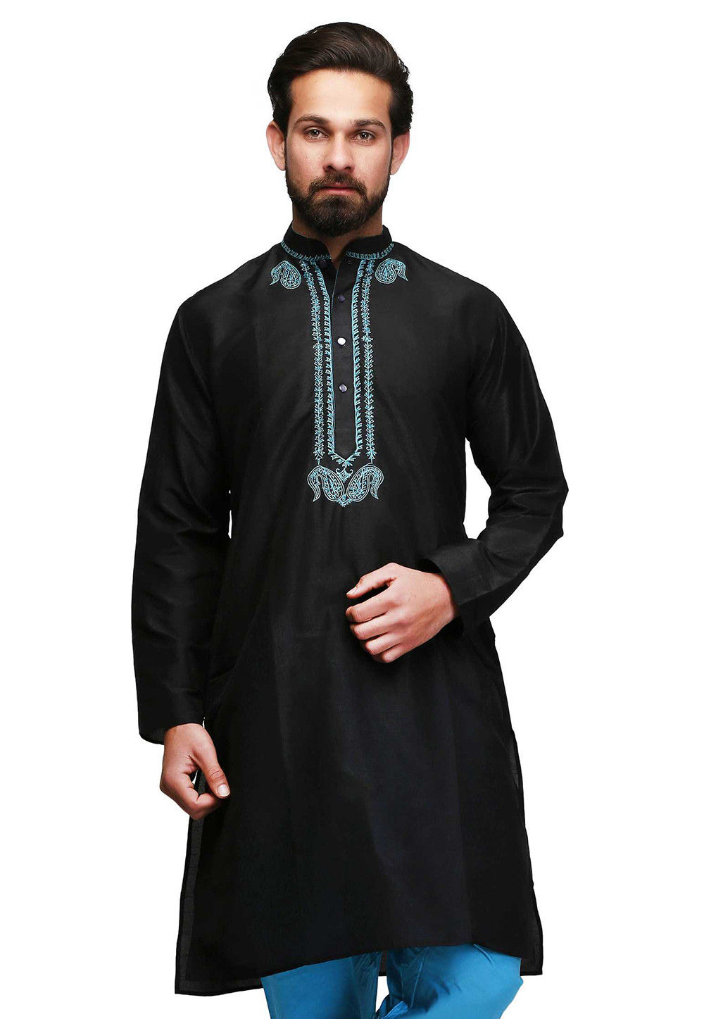 Embroidered Cotton Kurta in Black