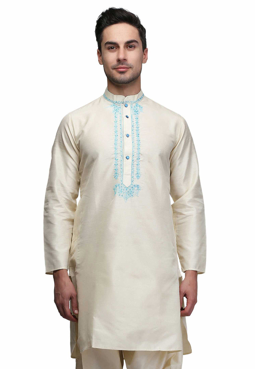 Embroidered Cotton Kurta in Off White