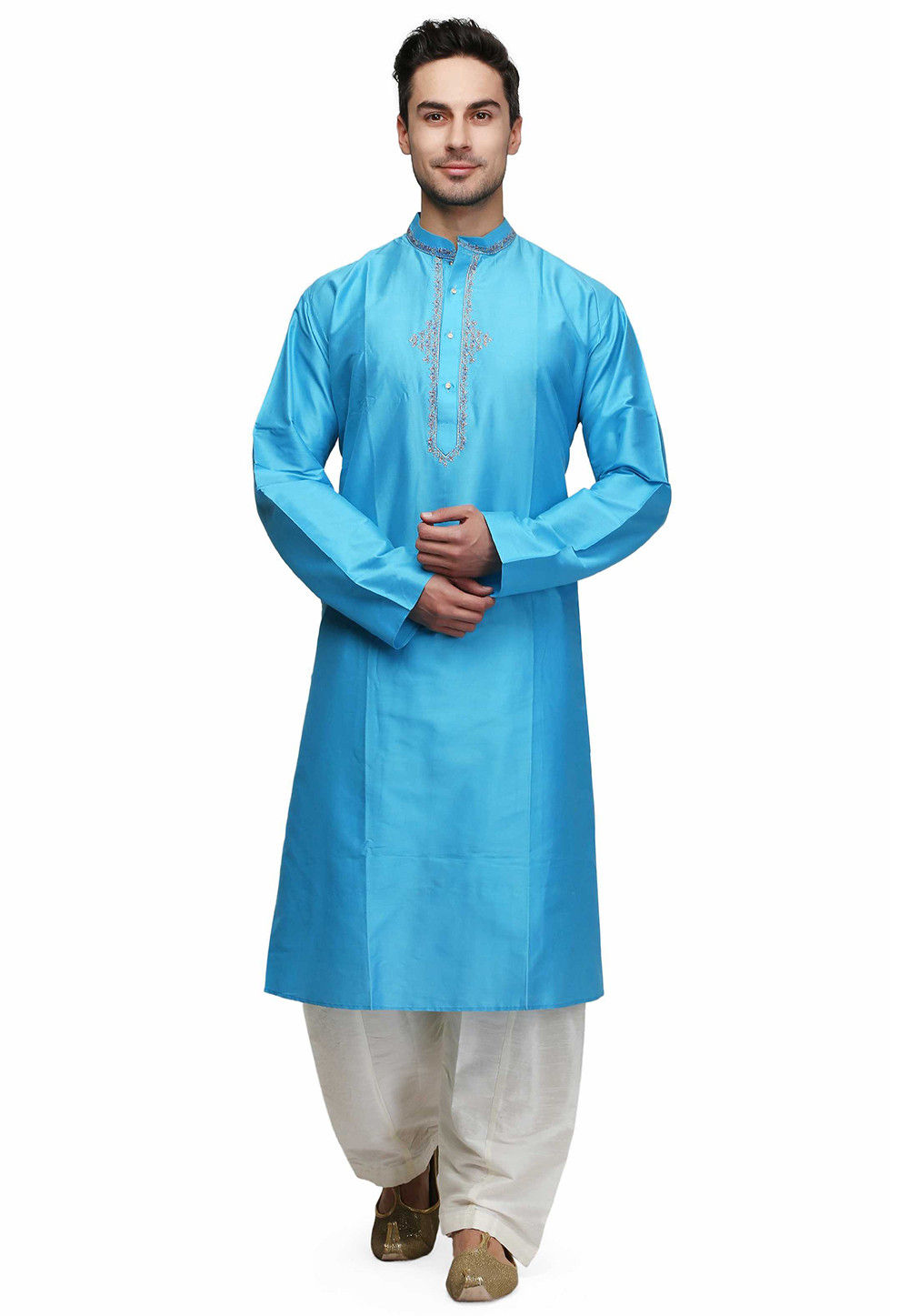 Embroidered Cotton Kurta in Turquoise