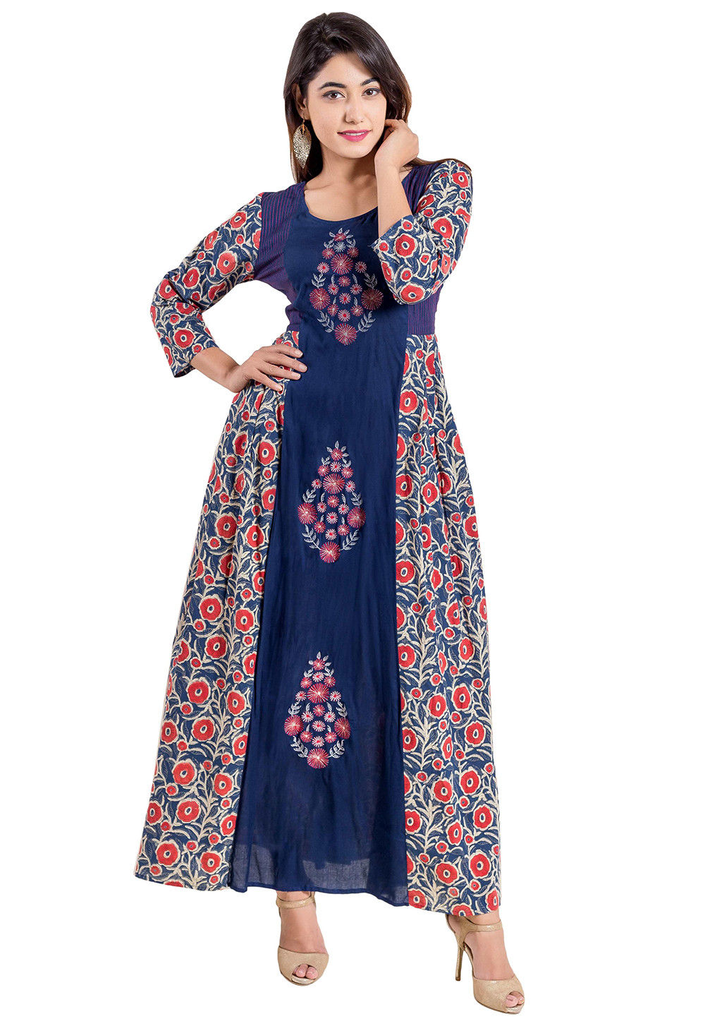 Embroidered Cotton Long Kurta in Navy Blue