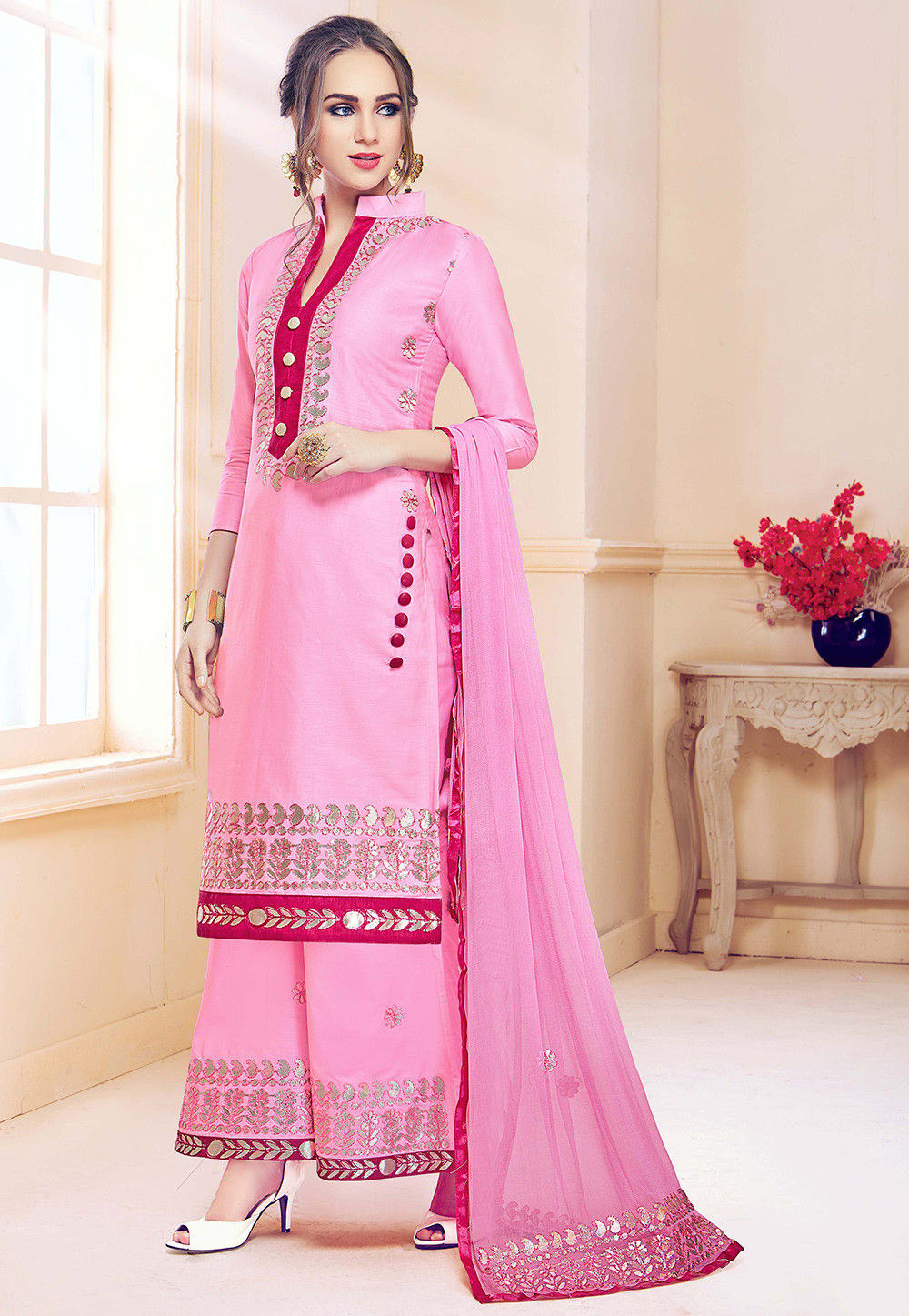 3ae0fd5296 ... Embroidered Cotton Pakistani Suit in Baby Pink. Zoom