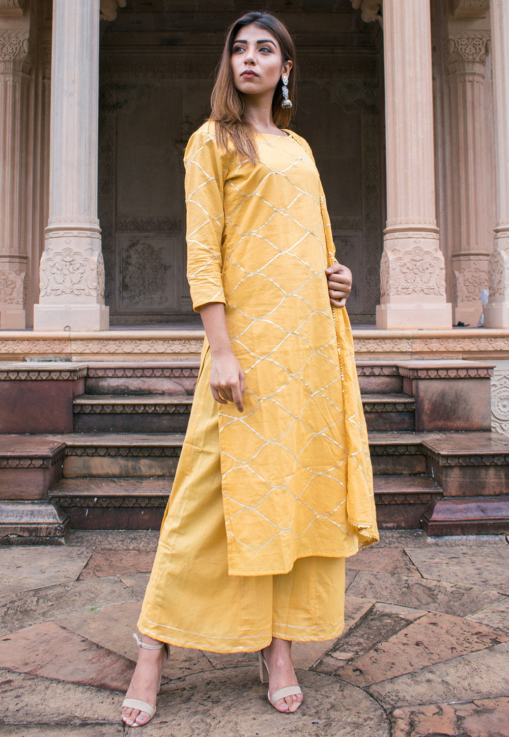 537d504877 ... Embroidered Cotton Pakistani Suit in Yellow. Zoom