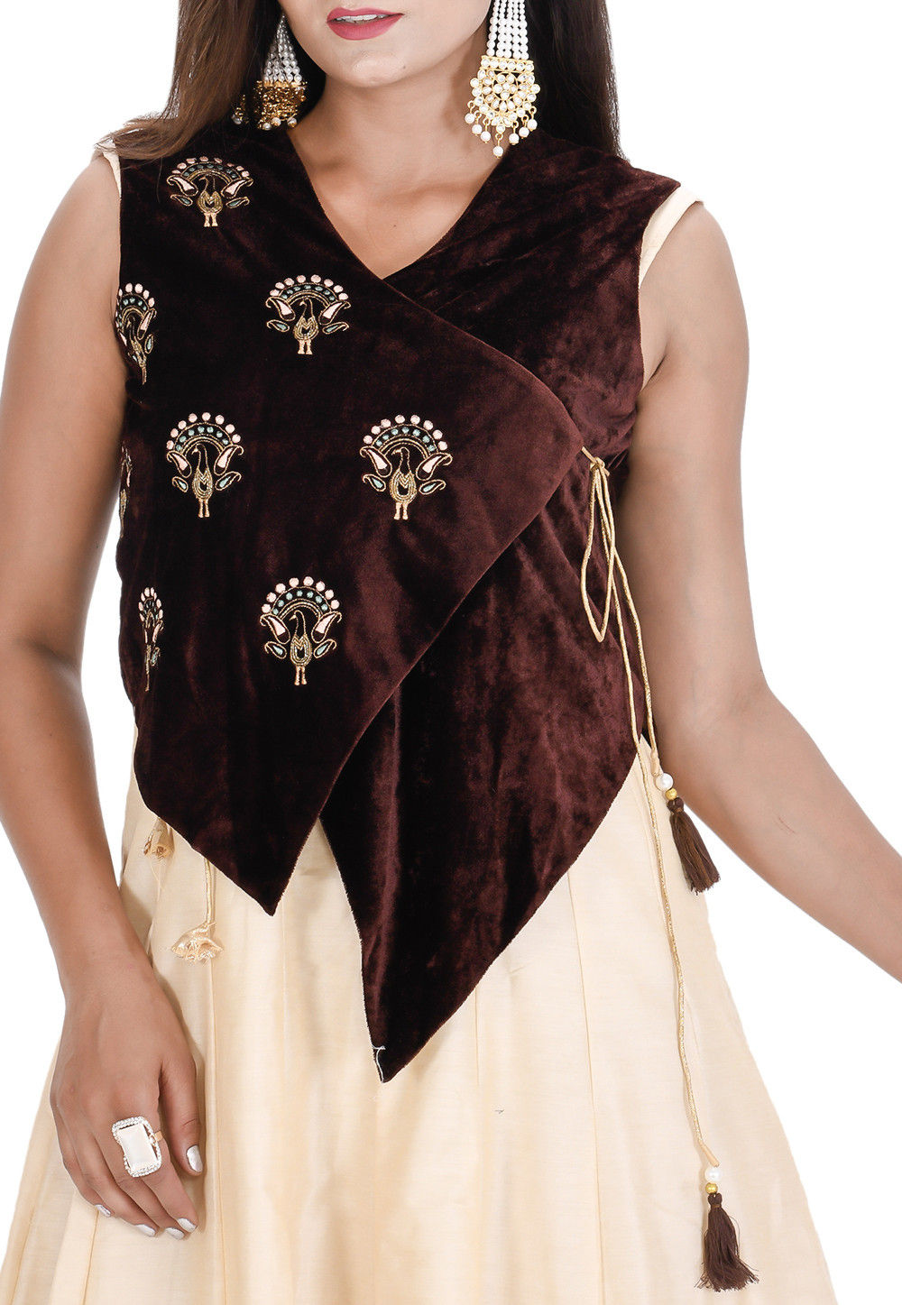 Beige and Brown Cotton Silk Kurti Brown Shawl /& Trouser A-Line Shirt Printed Trouser New Collection Beige Kurti Jamawar Shawl