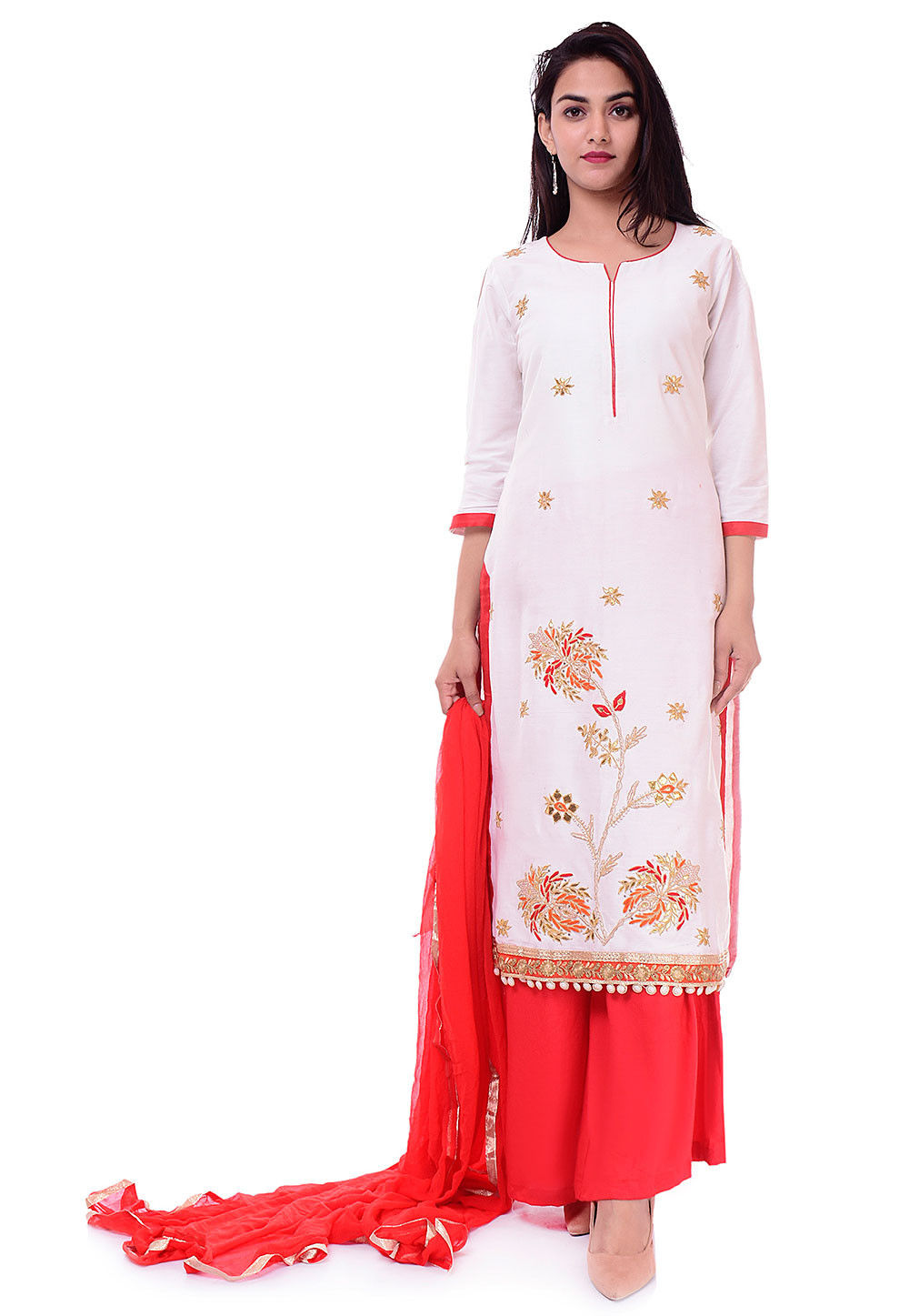 a7b6c6e219 ... Salwar Kameez; Embroidered Cotton Silk Pakistani Suit in White. Zoom