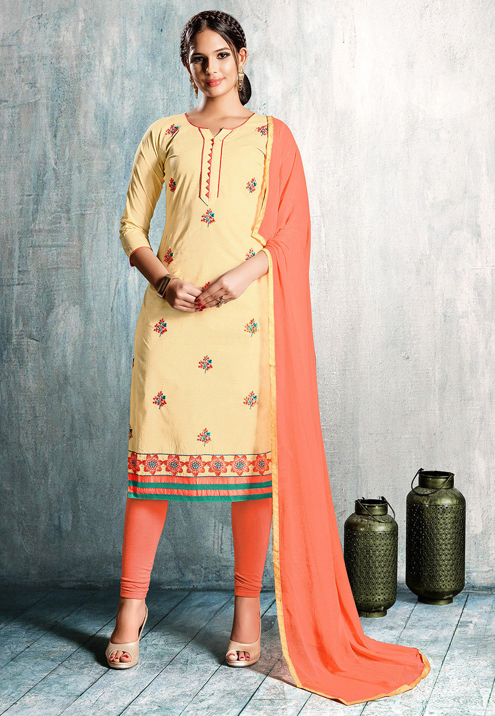 Embroidered Cotton Straight Suit in Light Beige