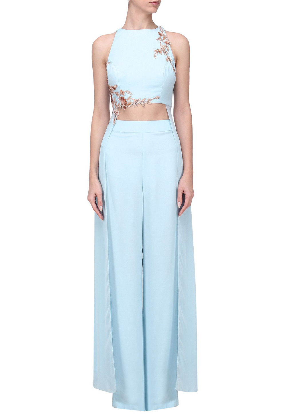 Embroidered Crepe Crop Top Set in Sky blue