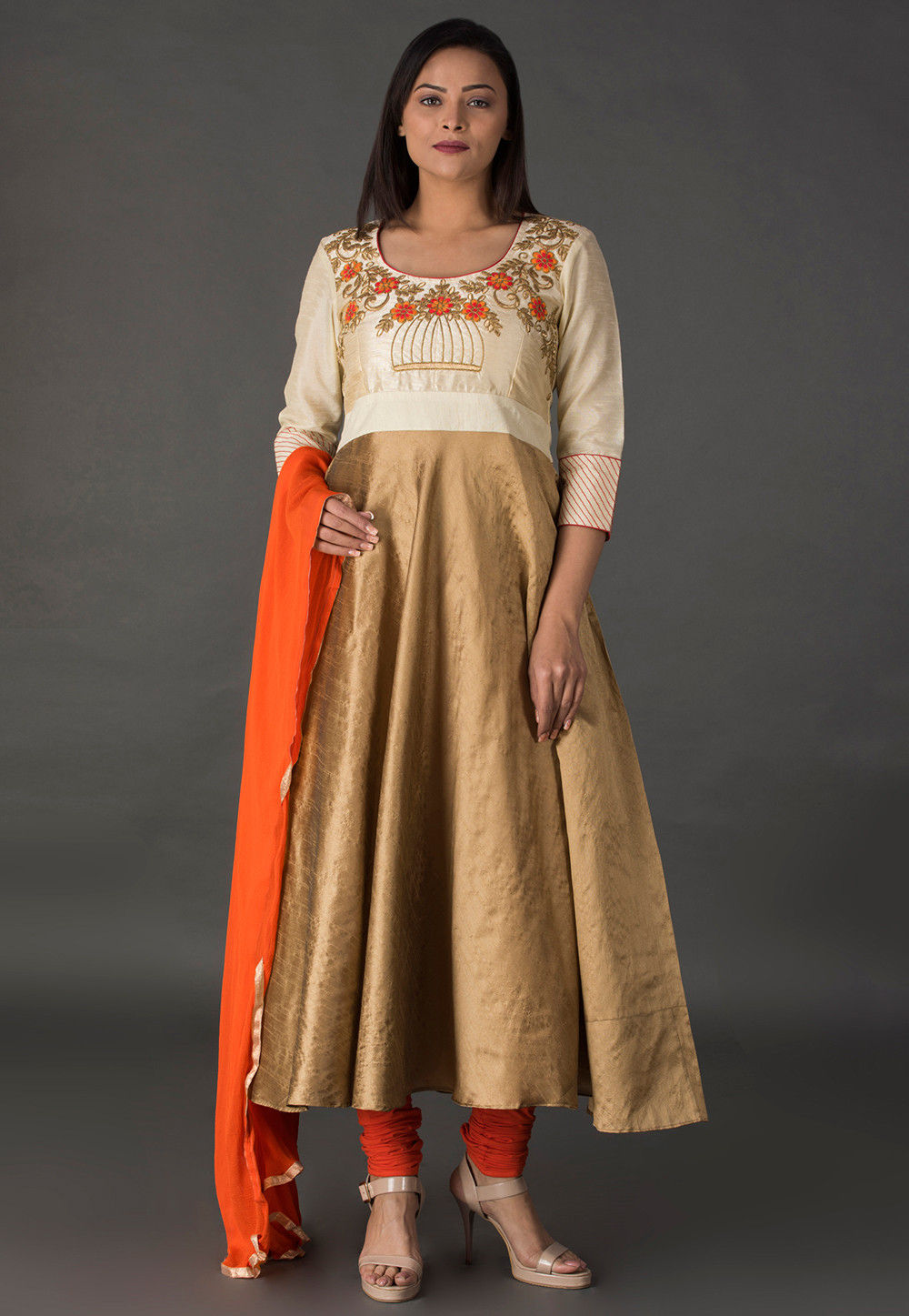 Embroidered Dupion Silk A Line Suit in Beige and Off White