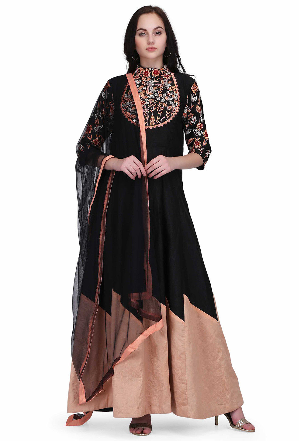 Embroidered Dupion Silk Abaya Style Suit in Black