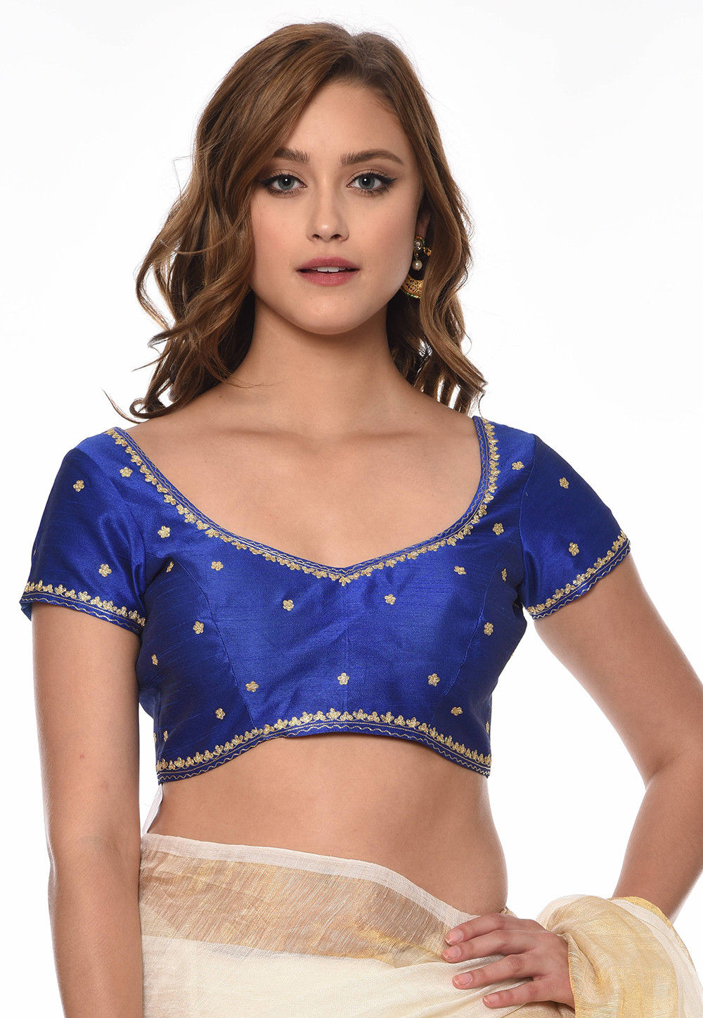 Embroidered Dupion Silk Blouse in Royal Blue