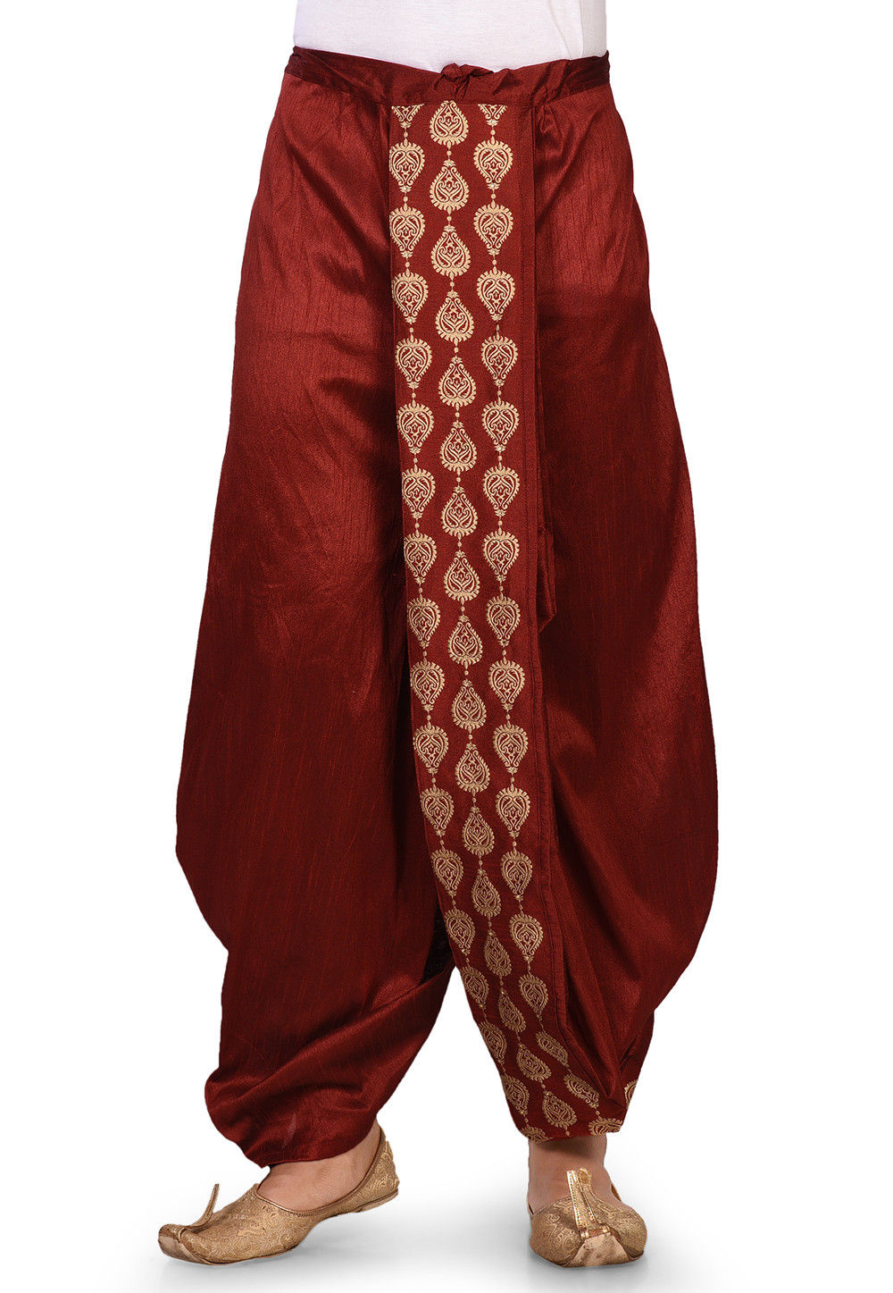 Embroidered Dupion Silk Dhoti in Maroon