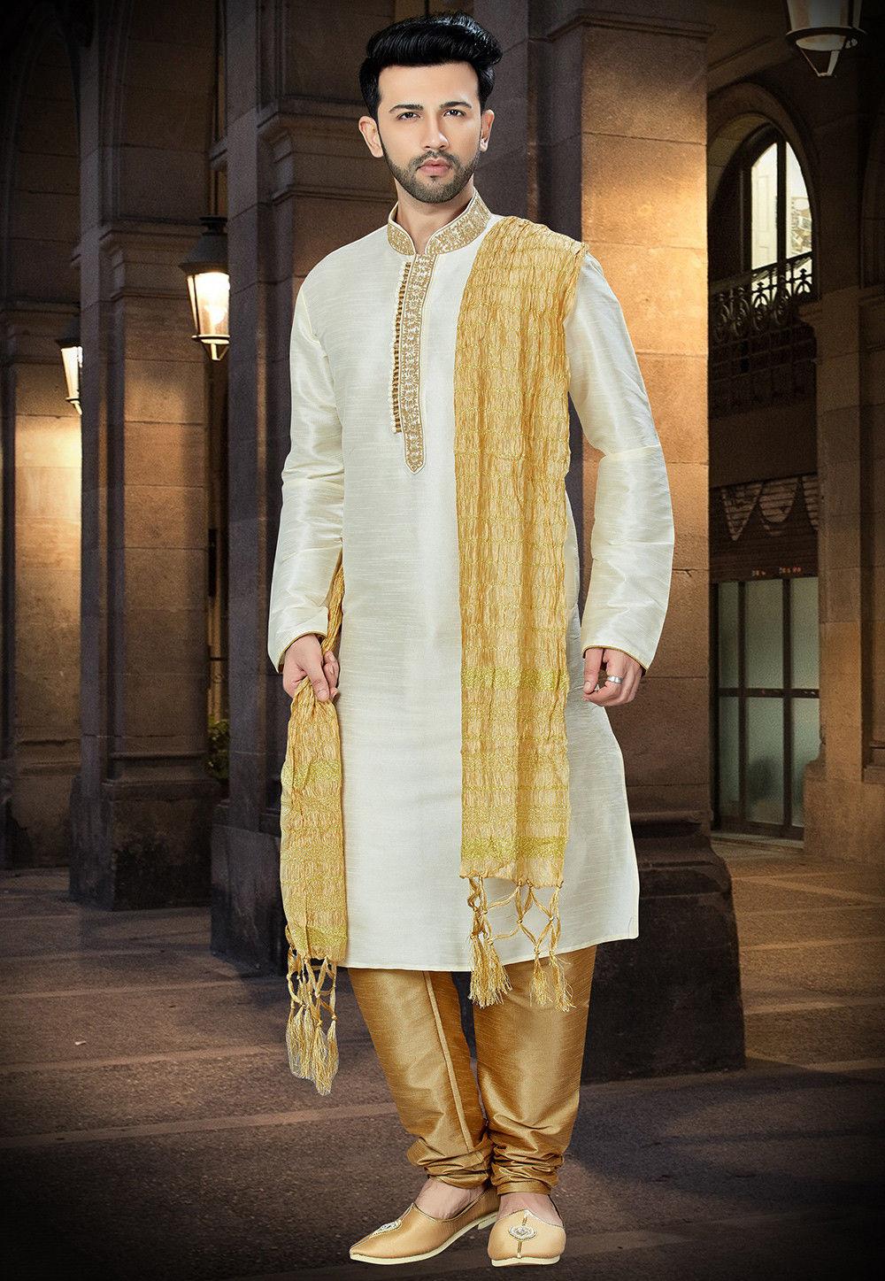 1cdde38b24 ... Men; Embroidered Dupion Silk Kurta Pajama in Off White. Zoom