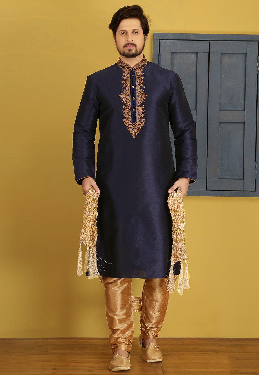 9cee8a7ce0 Embroidered Dupion Silk Kurta Pyjama in Navy Blue   MGV431
