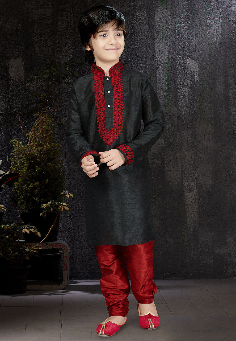 8137148926 ... Embroidered Dupion Silk Kurta Set in Black. Zoom
