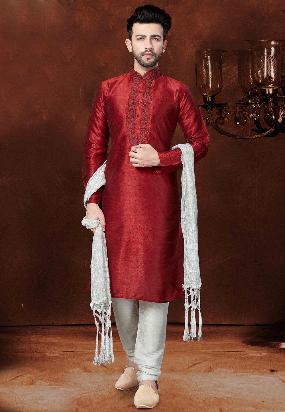 Embroidered Dupion Silk Kurta Set in Maroon