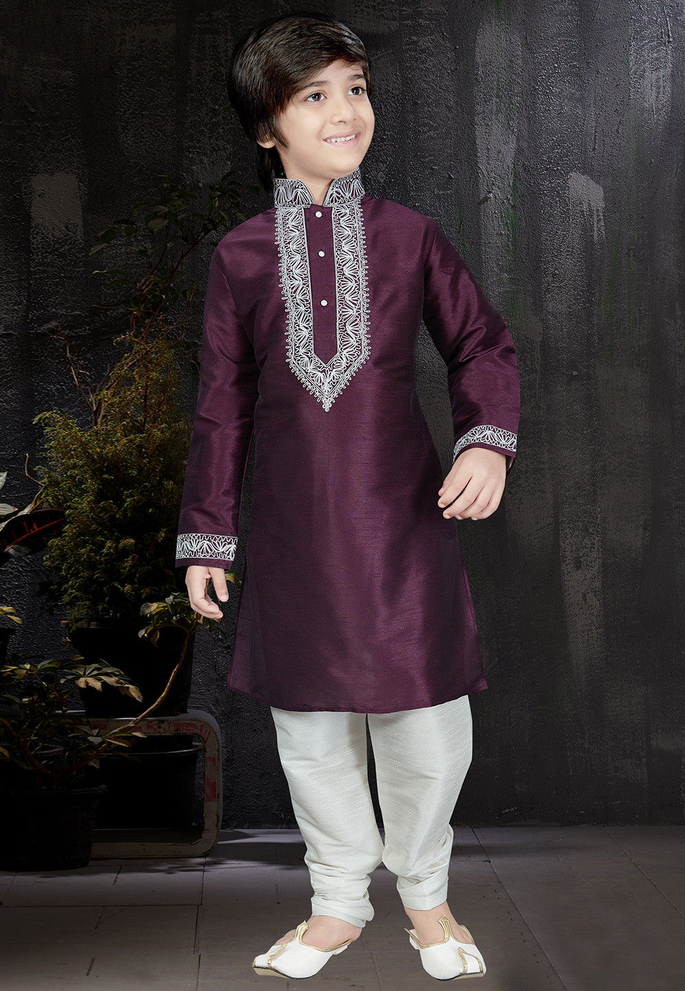 422ebcd9be ... Embroidered Dupion Silk Kurta Set in Wine. Zoom