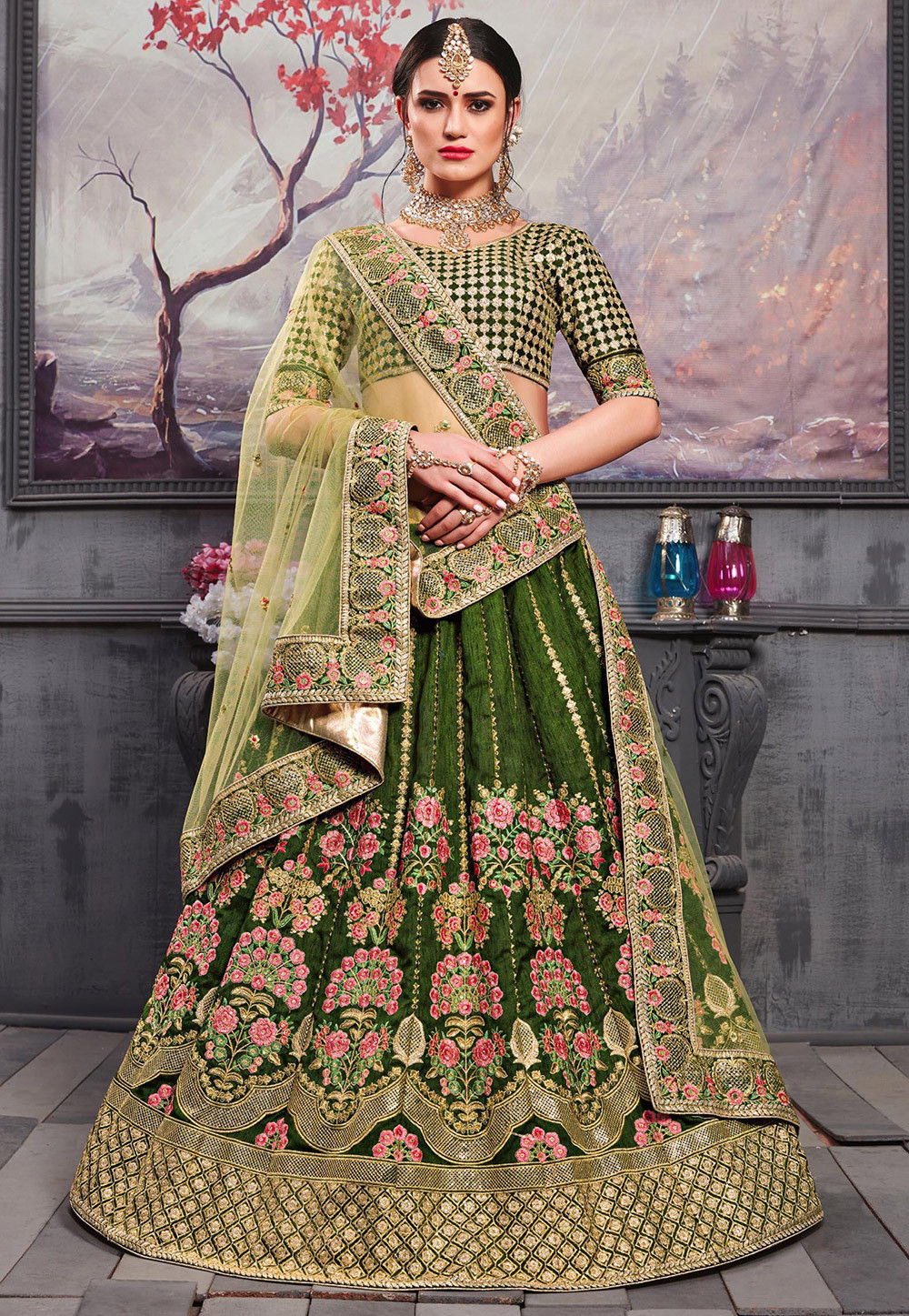 Embroidered Dupion Silk Lehenga in Olive Green