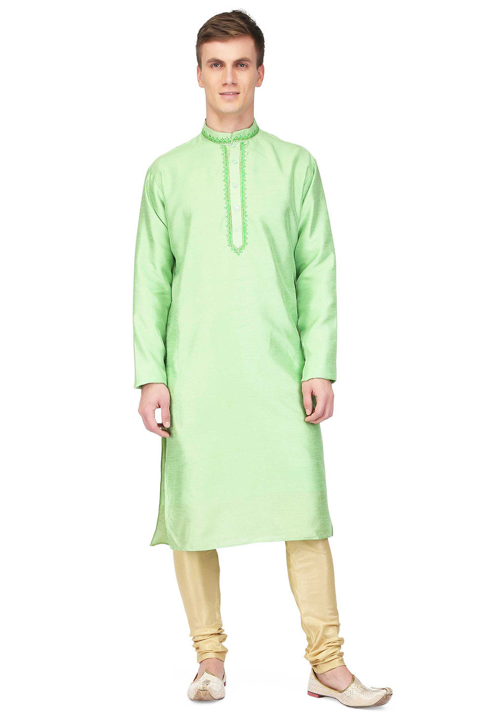 Embroidered Dupion Silk Straight Kurta in Pastel Green