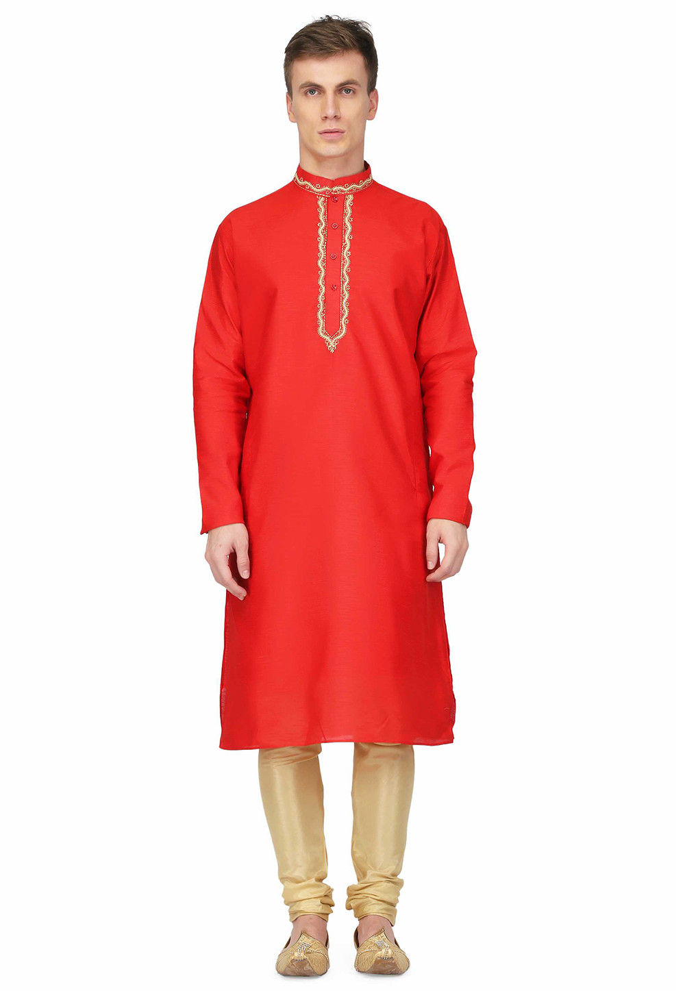 Embroidered Dupion Silk Straight Kurta in Red