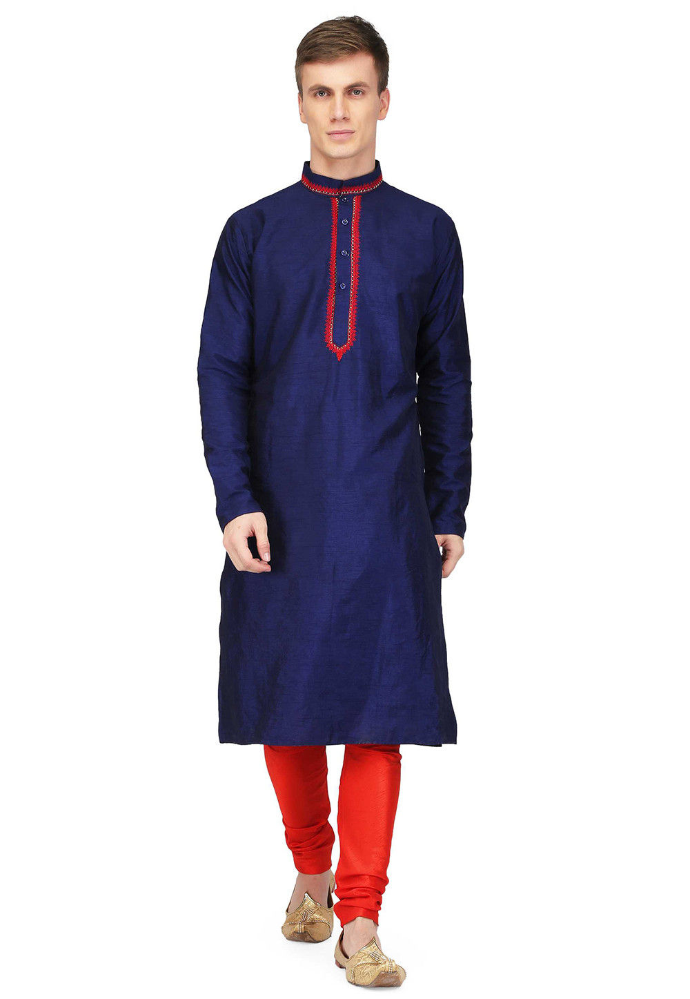 Embroidered Dupion Silk Straight Kurta in Royal Blue