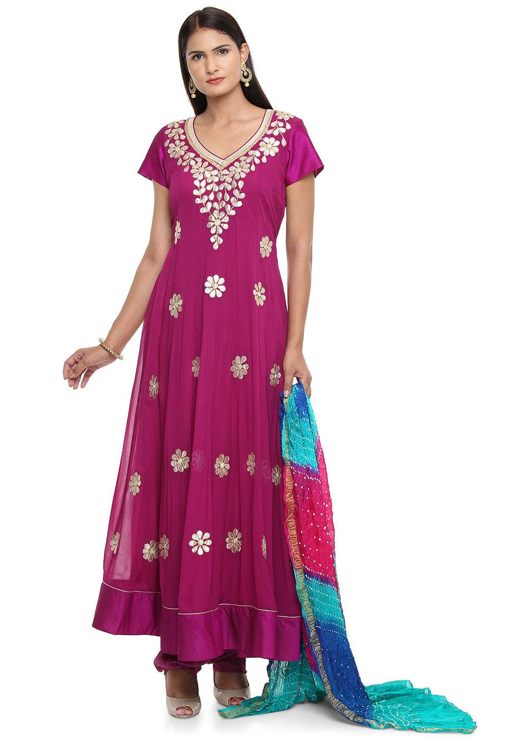 cf289f1c8a4 Embroidered Faux Georgette Anarkali Suit in Magenta   KJN3325