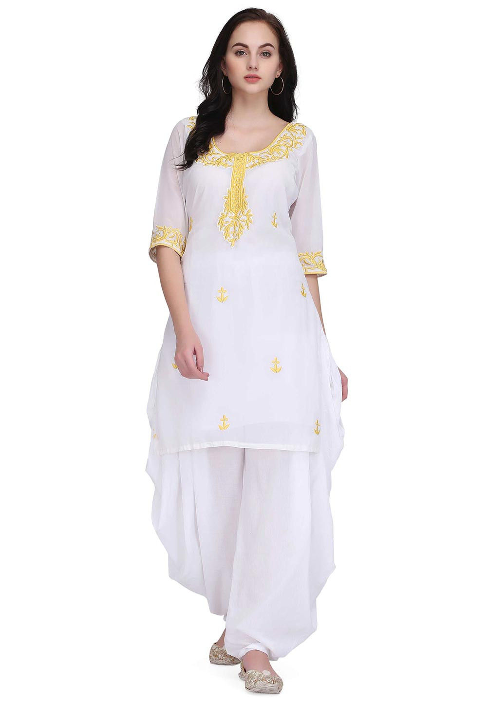 a503ec019 ... Embroidered Faux Georgette Kurti in White. Zoom