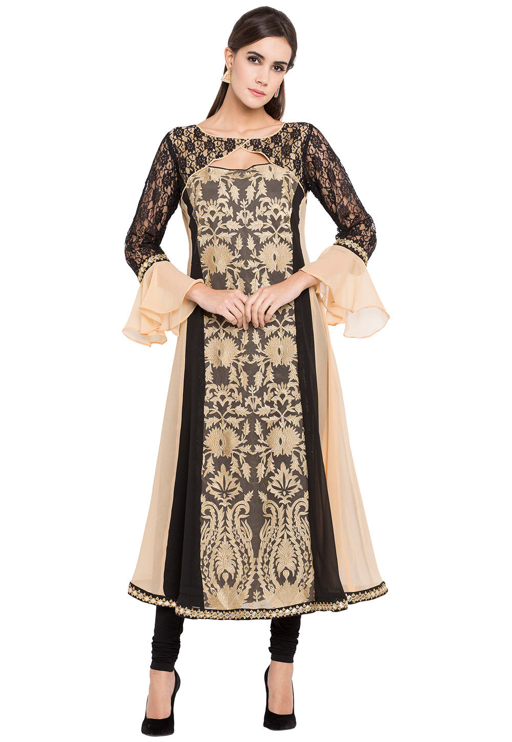 Embroidered Georgette A Line Kurta in Beige and Black
