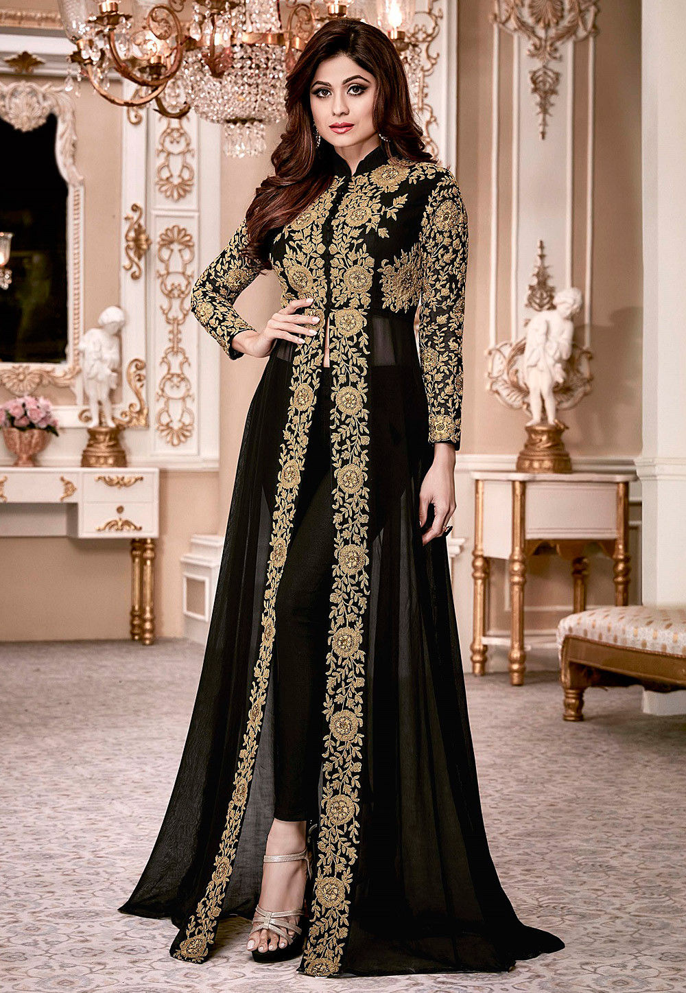 Embroidered Georgette Abaya Style Suit In Black Kch941