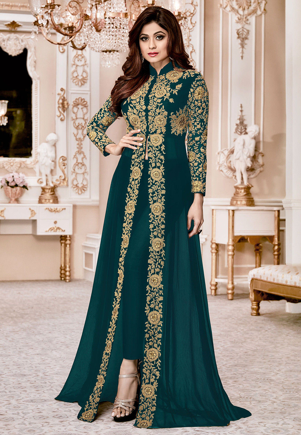 Embroidered Georgette Abaya Style Suit in Dark Teal Green