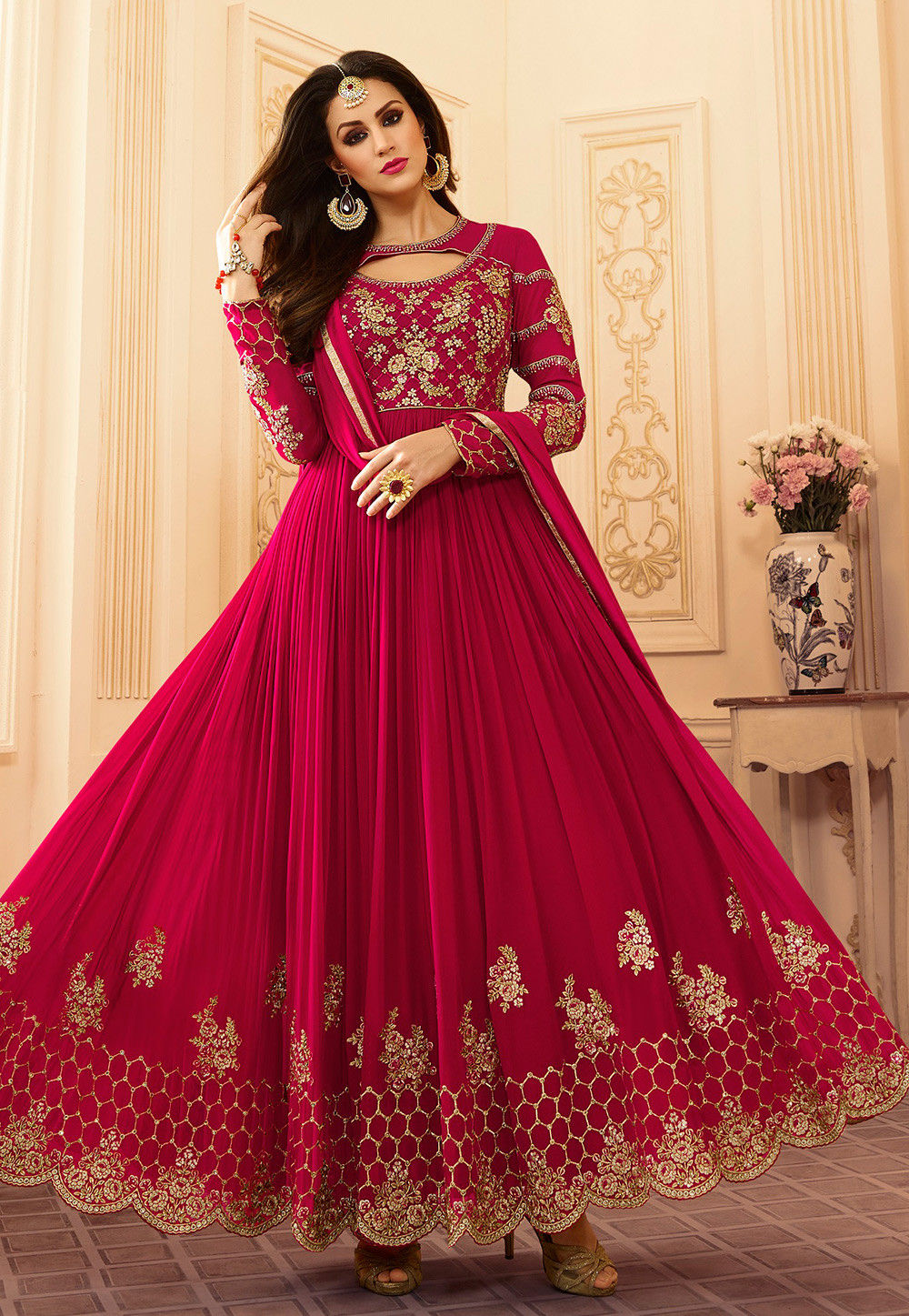 Embroidered Georgette Abaya Style Suit in Fuchsia : KCH1029