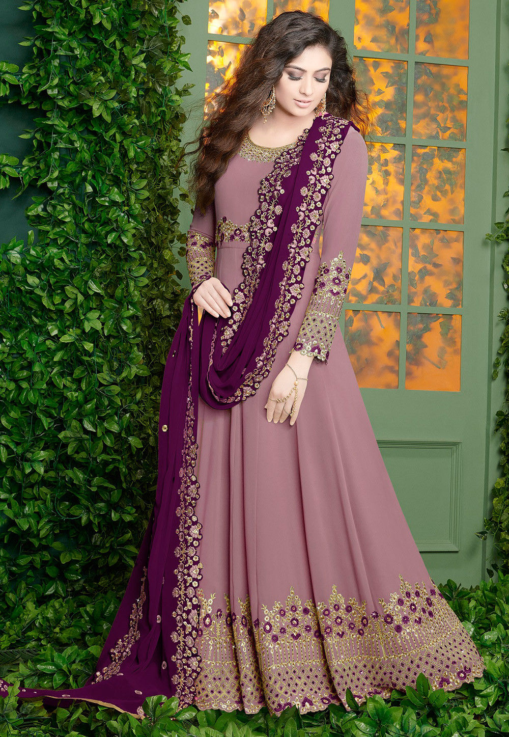 34eb38aa12 ... Salwar Kameez; Embroidered Georgette Abaya Style Suit in Light Purple.  Zoom