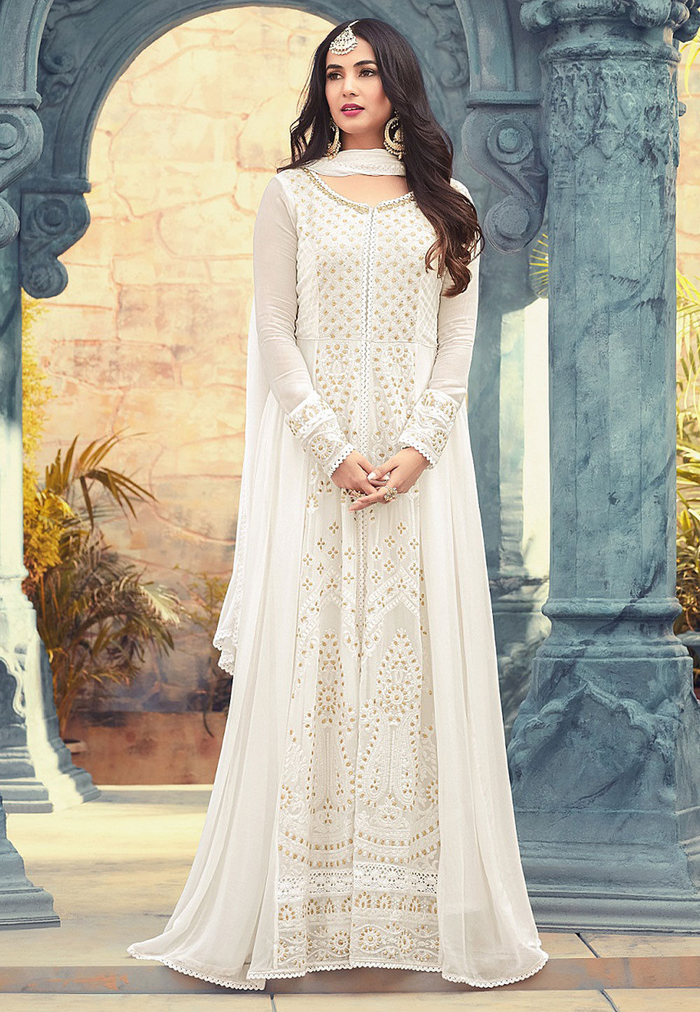 9b04c47423f Embroidered Georgette Abaya Style Suit in Off White   KCH1271