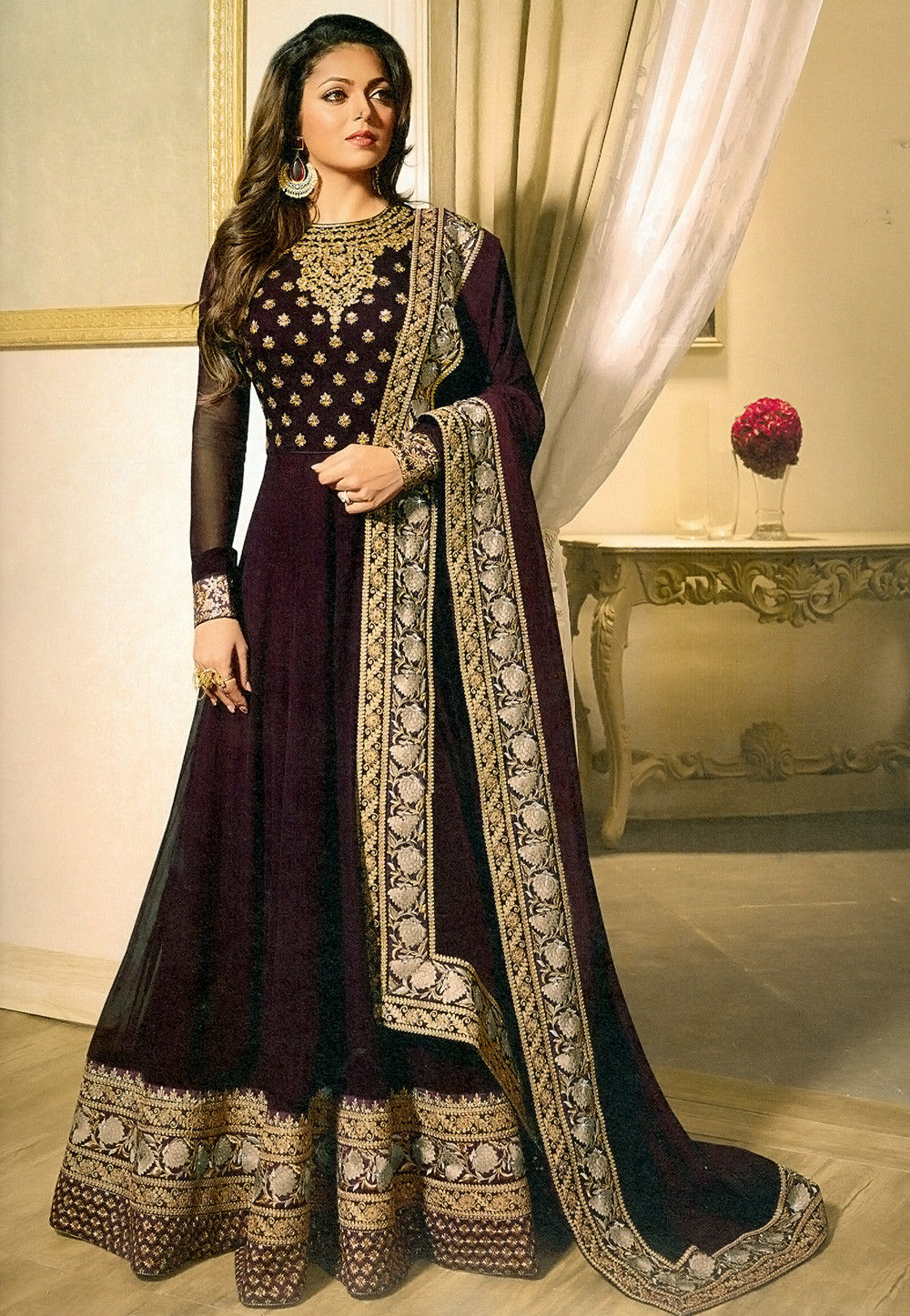 embroidered georgette abaya style suit in wine kch1290