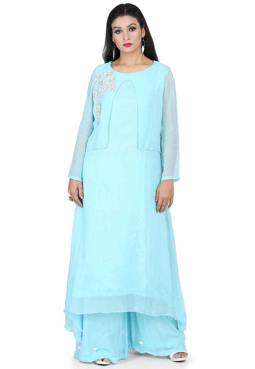 Embroidered Georgette Asymmetric Kurta Set in Light Blue