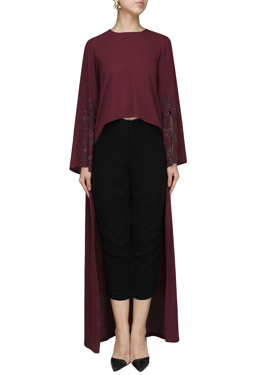 Embroidered Georgette Asymmetrical Top Set in Maroon