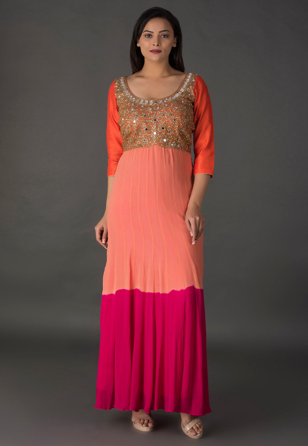 Embroidered Georgette Dress in Shaded Peach and Pink