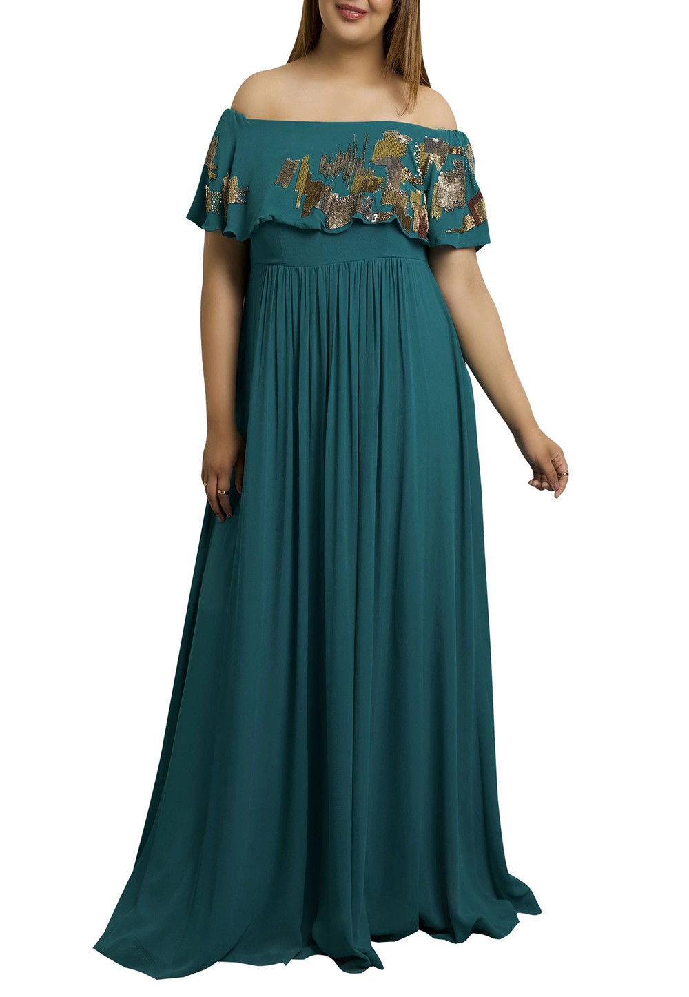 Embroidered Georgette Gown in Teal Blue