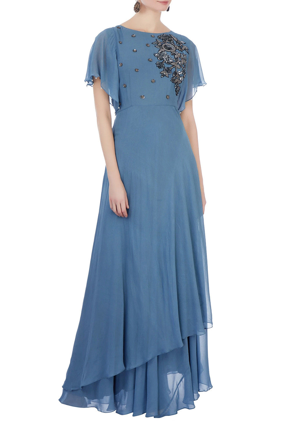Embroidered Georgette Kurta Set in Blue