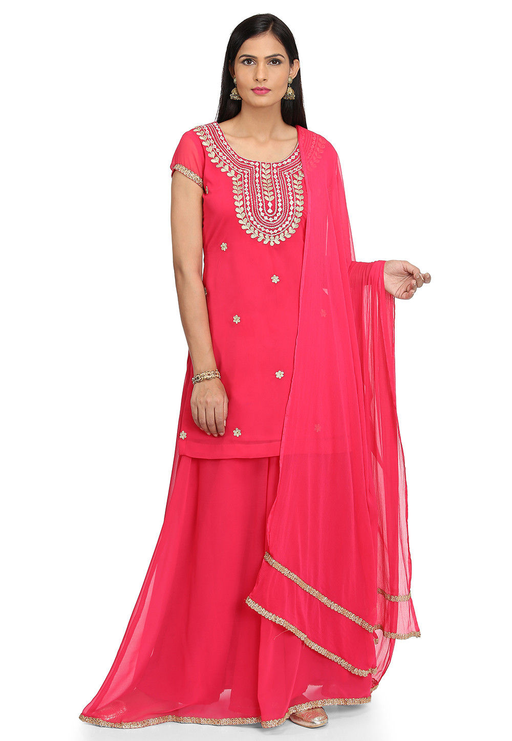 Embroidered Georgette Lehenga in Fuchsia