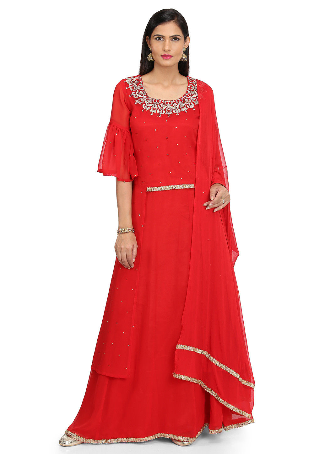 Embroidered Georgette Lehenga in Red