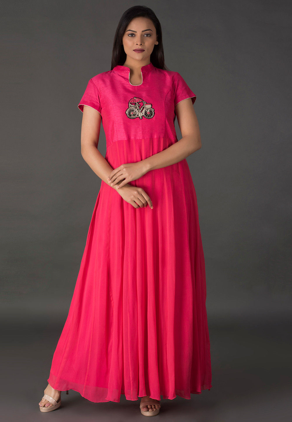 Embroidered Georgette Long Kurta in Coral Pink