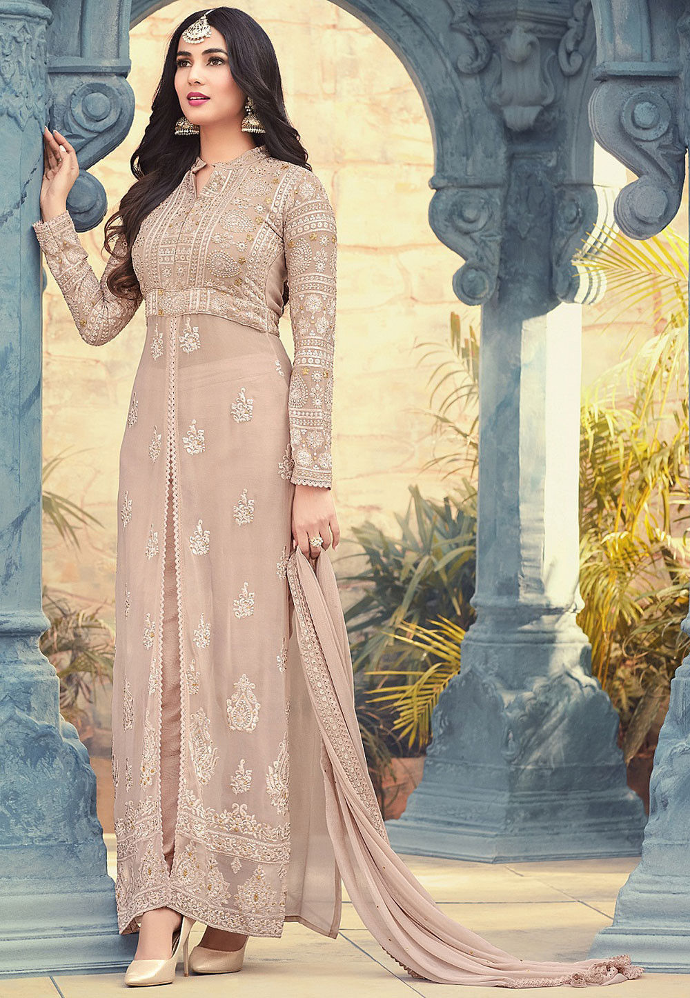 5deb77d477ac ... Embroidered Georgette Pakistani Suit in Beige. Zoom
