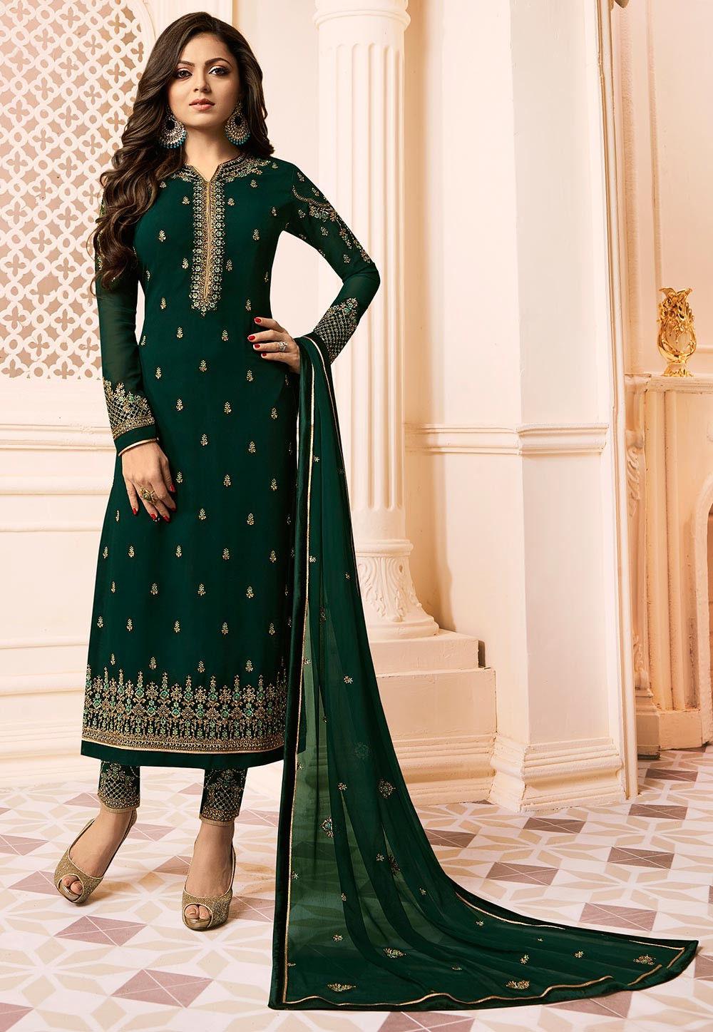 70306e2891 Utsav Fashion · Salwar Kameez; Embroidered Georgette Pakistani Suit in Dark  Green. Zoom