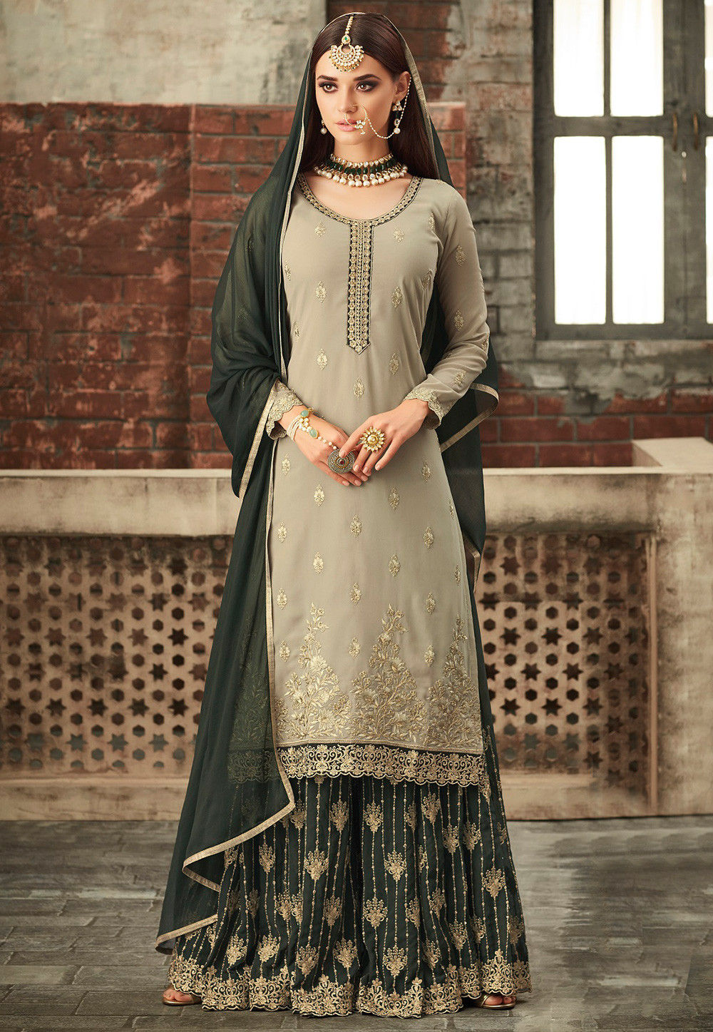 0ff323bfc7 Utsav Fashion · Salwar Kameez; Embroidered Georgette Pakistani Suit in Dark  Green. Zoom