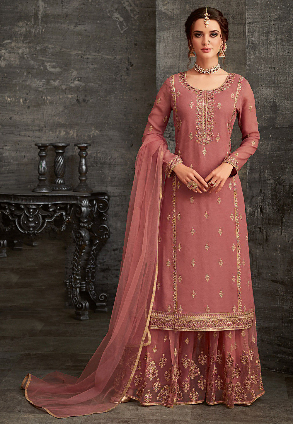 d498239f50 ... Embroidered Georgette Pakistani Suit in Dusty Pink. Zoom