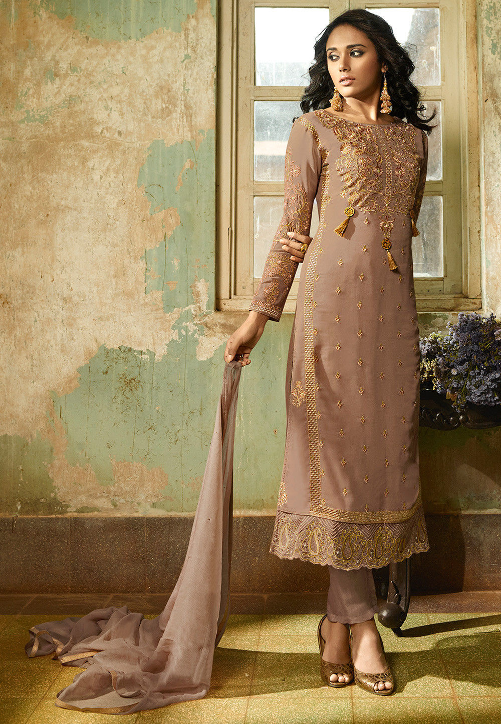 Embroidered Georgette Pakistani Suit in Light Brown