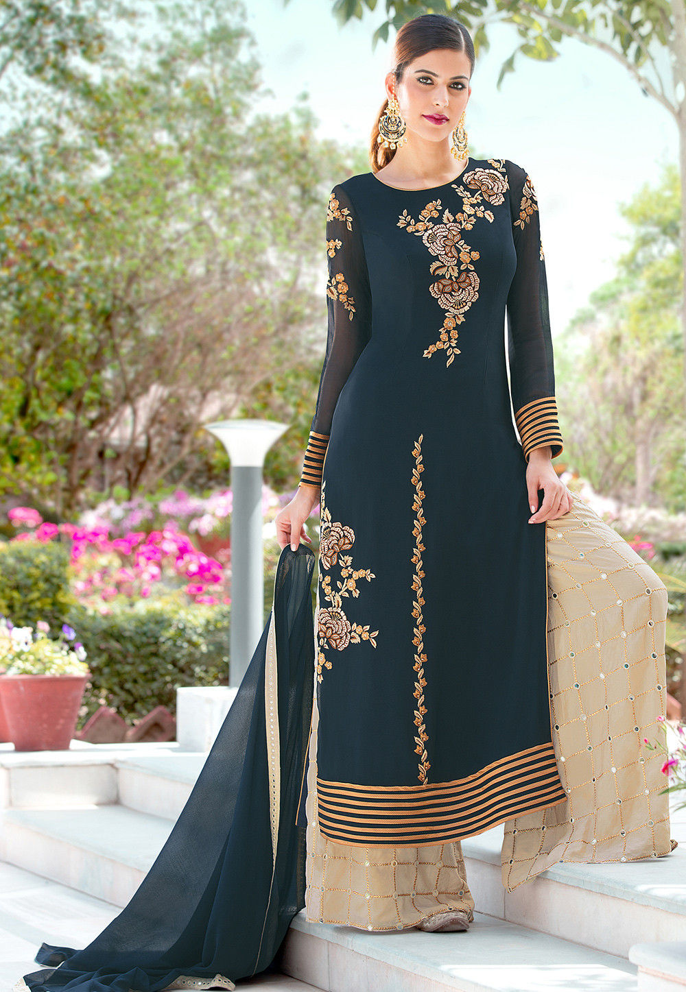 Embroidered Georgette Pakistani Suit in Dark Teal Blue