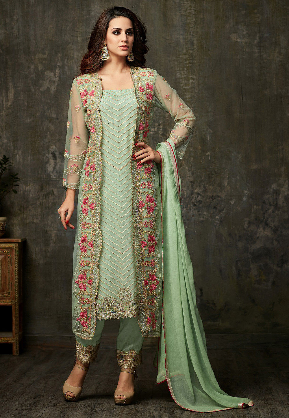 026bb4623 Embroidered Georgette Pakistani Suit in Pastel Green   KCH1128